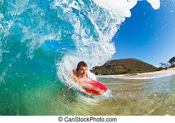 błękitny, surfing, stołownik, boogie, ocean, zdumiewający, machać