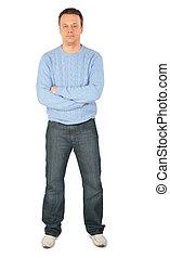 błękitny, sweter, człowiek