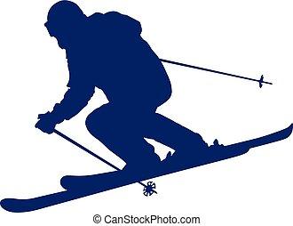 błękitny, sylwetka, mountain-skier