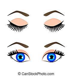 błękitny, sylwetka, oczy