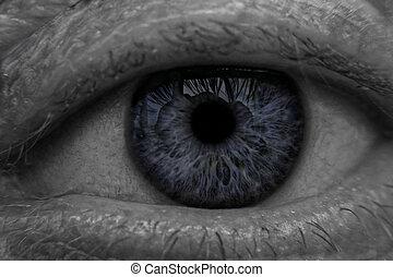 błękitny, szczelnie-do góry, oko