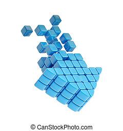 błękitny, sześcian, plastyk, strzała, technologia, ikona
