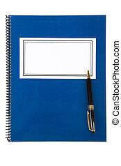 błękitny, szkoła, textbook