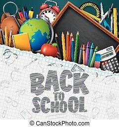 błękitny, szkoła, wstecz, chalkboard, tło, zaopatruje, chorągiew