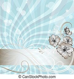 błękitny, szlachecki, ułożyć, kwiatowy