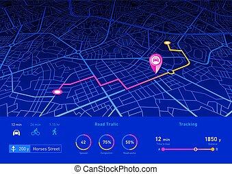 błękitny, szpilka, kolor, do góry, interfejs, nawigator, nawigacja, kpić, gps