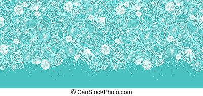 błękitny, sztuka, próbka, seamless, seashells, kreska,...
