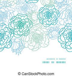 błękitny, sztuka, próbka, ułożyć, seamless, wektor, tło, kreska, kwiaty, poziomy