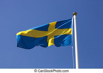 błękitny, szwecja, niebo, bandera