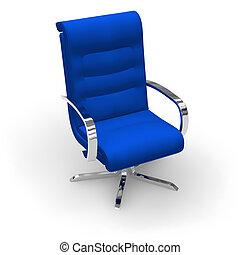 błękitny, szykowny, krzesło, biuro