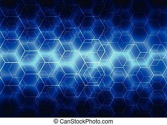 błękitny, technologia, abstrakcyjny, ilustracja, wektor, tło