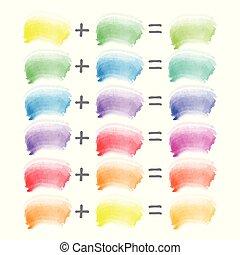 błękitny, teoria, kombinacja, uderzenia, duchy, -, żółty, ...