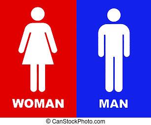 błękitny, toaleta, czerwony, znak