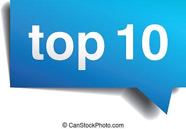 błękitny, top10, odizolowany, realistyczny, papier, mowa, biały, bańka, 3d
