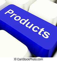 błękitny, towary, zakupy, pokaz, komputer, wyroby, klucz, internet