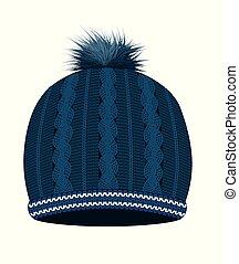 błękitny, trykotowy, kapelusz, zima