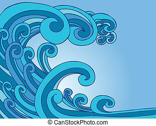 błękitny, tsunami, machać