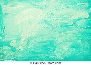 błękitny, turkus, abstrakcyjny, tło, akryl