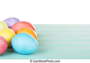 błękitny, turkus, drewniany, jaja, farbowany, wielkanoc, poduszeczka