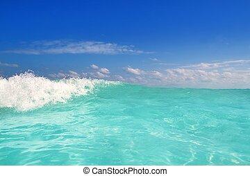 błękitny, turkus, karaibski, piana, machać, woda, morze