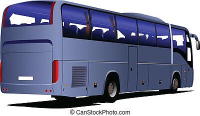 błękitny, turysta, zły, wektor, bus., coach.