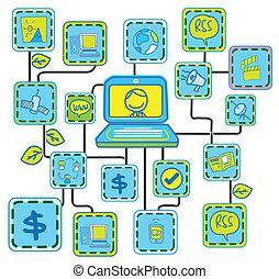 błękitny, tworzenie sieci, ogniwo, vecto, internet