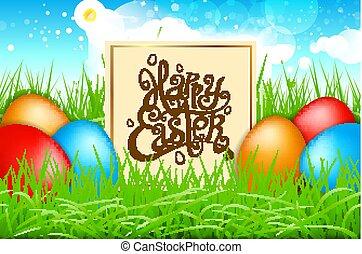 błękitny, tytuł, barwny, sky., wiosna, jaja, nowoczesny, kaligrafia, pole, wektor, trawa, wielkanoc, szczęśliwy