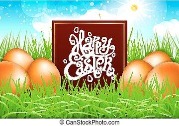 błękitny, tytuł, sky., jaja, nowoczesny, kaligrafia, pole, wektor, pomarańcza, trawa, wielkanoc, szczęśliwy