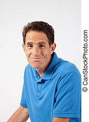 błękitny, uśmiechnięty człowiek, koszula, przystojny