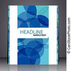 błękitny, układ, handlowy, lotnik, abstrakcyjny, colors., osłona, koła, projektować, a4, cyfrowy, rozmiar, geometryczny, broszura