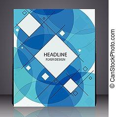 błękitny, układ, handlowy, lotnik, abstrakcyjny, colors., osłona, koła, projektować, a4, rozmiar, geometryczny, kwadraty, broszura