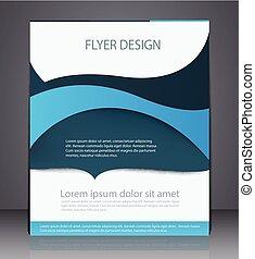 błękitny, układ, handlowy, lotnik, abstrakcyjny, cyfrowy, osłona, broszura, projektować, a4, fale, rozmiar, colors.