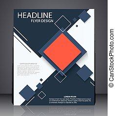 błękitny, układ, handlowy, lotnik, abstrakcyjny, osłona, broszura, projektować, a4, cyfrowy, rozmiar, geometryczny, kwadraty, czerwony, colors.