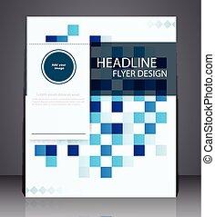 błękitny, układ, handlowy, lotnik, abstrakcyjny, osłona, broszura, projektować, a4, cyfrowy, rozmiar, geometryczny, kwadraty, colors.