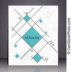 błękitny, układ, handlowy, lotnik, abstrakcyjny, osłona, kwadraty, broszura, projektować, a4, rozmiar, geometryczny, colors.