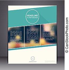 błękitny, układ, handlowy, osłona, zamazany, broszura, kolor, lotnik, projektować, a4, tło, rozmiar