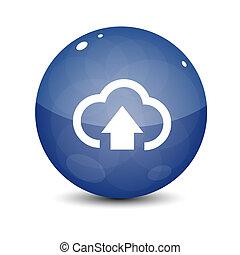 błękitny, upload, chmura, ikona