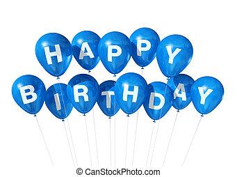 błękitny, urodziny, balony, szczęśliwy