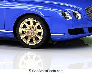 błękitny wóz, koła, luksus, złoty