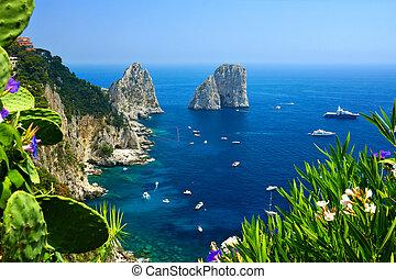 błękitny, włochy, brzeg, capri, trzęsie się, morze, łódki, kwiaty, faraglioni, prospekt