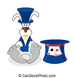 błękitny, walec, waistcoat., alice, ilustracja, hatter., wonderland., obłąkany, królik, hat., biały, królik