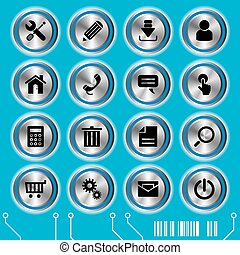 błękitny, website, komplet, ikony