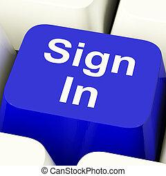 błękitny, website, pokaz, znak, komputerowy klucz, login