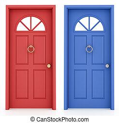 błękitny, wejście, drzwi, czerwony