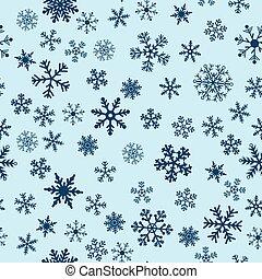 błękitny, wektor, śnieg, tło, seamless