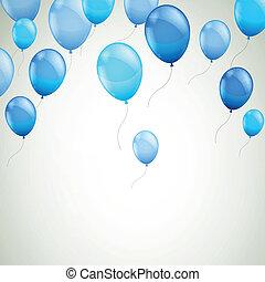 błękitny, wektor, balony, tło