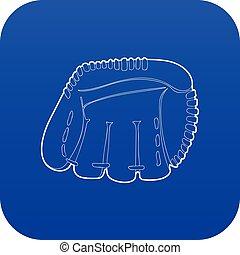 błękitny, wektor, baseballowa rękawiczka, ikona