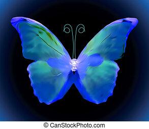 błękitny, wektor, butterfly.