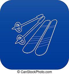 błękitny, wektor, narciarstwo, ikona