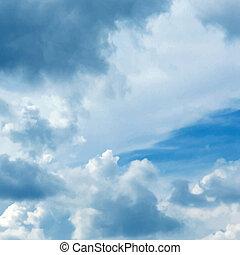 błękitny, wektor, niebo, pochmurny, tło
